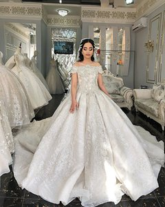 2020 Arabic Aso Ebi Luxurious Lace Crystals Wedding Dresses Bateau Beaded Sequined Bridal Dresses Vintage Sexy Wedding Gowns ZJ366