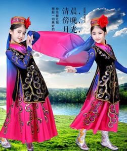 Costumi Dance Costumes donne Uygur fase dello Xinjiang danza per bambini Children Chinese Folk Costume di scena Vestito