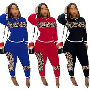 Leopard Patchwork Tuta T shirt vestito a due pezzi a maniche lunghe T-shirt Pullover + ghette Outfits autunno che coprono il vestito S-2XL