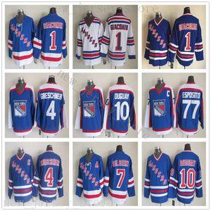 Mens New York Rangers Hockey Jerseys 10 Ron Duguay 1 Eddie GiaComin 4 Ron Greschner 7 Rod Gilbert 77 Phil Esposito Jersey Vintage