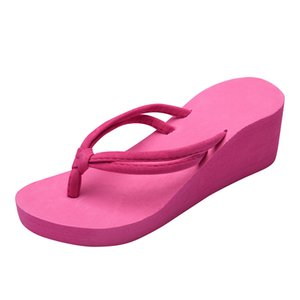 Sólidos Pés cores antiderrapantes SAGACE Mulheres de Verão flip-flops de salto alto Cunhas Praia sandálias fêmeas 35-43 Grande J11 Tamanho