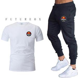 Estate Vendita calda Set da uomo T-shirt + pantaloni Due pezzi Set Casual Tuta da uomo 2019 Casual Tshirt Palestre Fitness pantaloni uomo