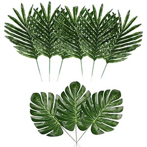 48 Pcs Faux Palm Leaves and Artificial Monstera Leaves,DIY Home Wedding Theme Party BBQ Table Leaf Decorations Supplies