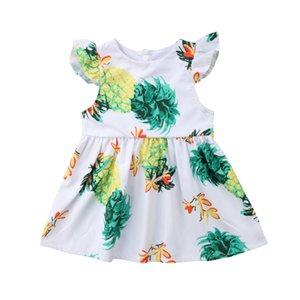 Vestido floral abacaxi Short Round Neck Princess Party Verão bonito 1PC Moda Criança do bebé que Casual Padrão A-Line