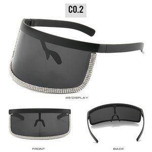 Crystal oversized shield visor sunglass Futuristic Oversize Shield Visor Sunglasses Flat Top Mirrored Mono Lens 172mm sand glasses lTDzm