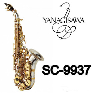 Nueva YANAGISAWA SC-9937 Latón curvo Profesional Saxofón Soprano Sax níquel Boquilla Parches Pads cañas Doble Cuello regalo