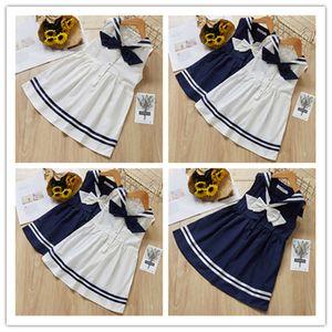 INS Sommer Childs Baby Marine-Art-Bogen-Kleid mit V-Ausschnitt Kinder Princess Tutu-Rock-Kleid Mädchen Ärmel Gestreifte plissierte Kleider Nachrichten LY305