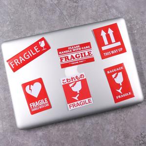 6 in 1 fragile Warning label travel luggage suitcase sticker laptop skateboard guitar refrigerator car waterproof sticker free shipping