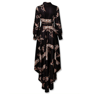2020 Retrò partito Nuova Maglia a manica Abito lungo stampa allacciatura Bow Camicia abiti delle donne OL sottile convenzionale Vestito a sirena Abiti autunno