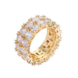 Мужская Bling Hip Hop Iced Out цвета золота камень Rhinestone Cz размер 7-11 Мужская мода палец кольцо