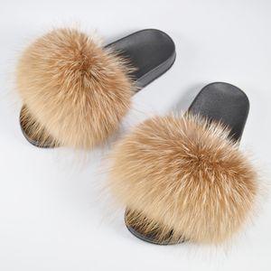 2019 Le donne vere genuina della pelliccia di Fox pantofole Ragazza bella Fluffy reale della pelliccia di Fox Scarpe diapositive di lusso sandali di qualità reale della pelliccia di Fox piatte