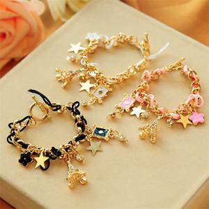 Moda jóias coreana pulseira Femme Pentagrama Jogando Presentes Charme Flor Cartões Pulseira BESTFRIEND Accesorios mujer
