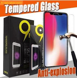 Protetor de tela de vidro temperado 2.5D 9H Para iPhone 11 Pro 2019 XS Max XR X 8 7 6 6 S Plus 5 5S SE Protetor resistente com pacote preto