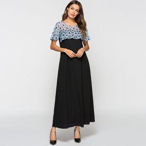 summer new Muslim lace stitching long dress short sleeve dress Femme 2020 Ladies Clothes women's fashion long skirt