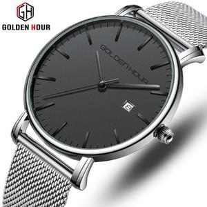 GOLDENHOUR Atlético Sport reloj de cuarzo relojes de los hombres del estilo de los hombres de moda impermeable del calendario masculino reloj de pulsera Relogio Masculino