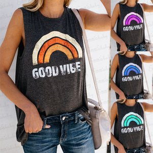 Moda de verano para mujer de las tapas del tanque sin mangas del chaleco flojo ocasional femenino del arco iris playa impresa estiramiento de Bodycon Camisetas Ropa