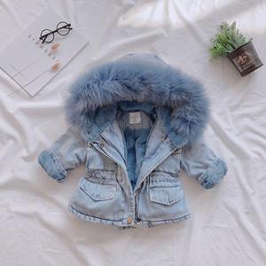 2019 Designer jeans bébé manteau de coton rembourré Fille d'hiver manteau épais vêtements d'hiver Designer Kids filles Denim Vêtements