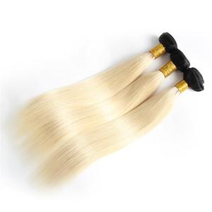 Ombre Paquetes brasileños para el cabello El cabello humano virgen teje la trama 1B613 Blonde de dos tonos Sin procesar Peruvain Extensiones de cabello de Mongolia de la India