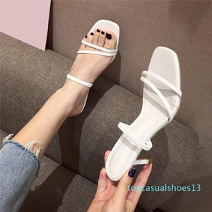 2020 New Women's Thin High Heels Slippers Women Square Toe Candy Color Sandals Woman Slides Fashion Female Beach Shoes Ladies t13
