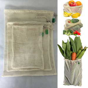 3pcs Set Reusable Cotton Mesh Grocery Shopping Produce Bags Vegetable Fruit Fresh Bags Hand Totes Home Storage Pouch Drawstring Bag WX9-1173