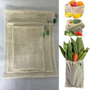 3PCS / 설정 재사용 코튼 망사 식료품 쇼핑 제작 가방 야채, 과일, 신선한, 가방 손 토트 홈 스토리지 주머니 졸라 매는 끈 가방 WX9-1173
