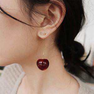 Boucles d'oreilles de fruits cerise tempérament féminin japonais et style coréen fille coeur mignon Boucles d'oreilles longues boucles d'oreilles en résine
