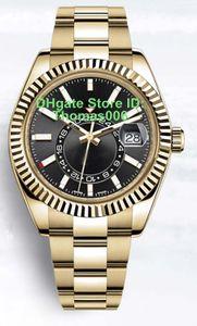 Часы механические автоматические движения SKY 326934 Золото черный циферблат сапфировое стекло Скрытая складной Корона Застежка Супер часы 41мм
