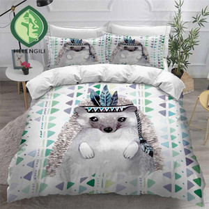 HELENGILI 3D Bedding Set Hedgehog Painting Print Duvet Cover Set Bedclothes with Pillowcase Bed Home Textiles #CW05