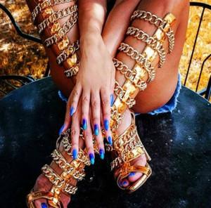 LTTL Mode Frauen öffnen Zehe-Knee High Chain Design Gladiator Stiefel Stilett-Absatz-Gold-Sandale Stiefel Frauen-Kleid-Schuhe