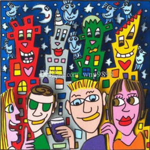 a100# James Rizzi - DOUBLE DATE Home Decor Handpainted &HD Print Oil Painting On Canvas Wall Art Canvas Pictures 191220