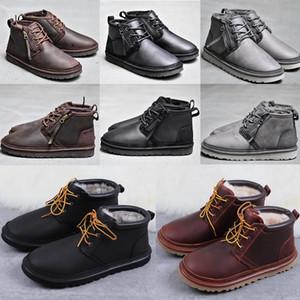 2020 Curva-nó WGG homensuggs clássicos meio de altura Botas Bow homens menina carregador carregadores da neve do inverno azul tornozelo sapatos de couro