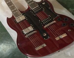 무료 배송 슈츠 콤 지미 Page 12 6 Strings 1275 더블 넥 LED Zeppeli 페이지 서명 된 세 와인 레드 바디 일렉트릭 기타