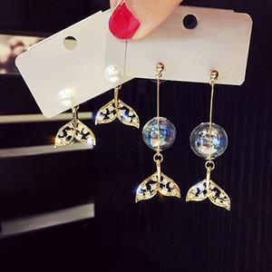INS Super fada pérola da sereia da bolha Peixe-Tail Exquisite Rhinestone Brincos Bolha-Style Fada brincos novos Stud brincos Womens