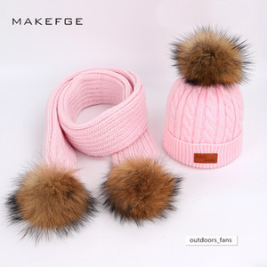 Children two-piece raccoon fur ball thick baby hat scarf set