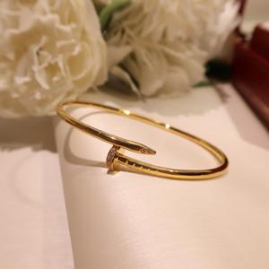 in argento sterling S925 chiodi a vite classico zircone Bracciale punk braccialetti d'oro per le donne miglior regalo marchi di gioielli di lusso di qualità superiore