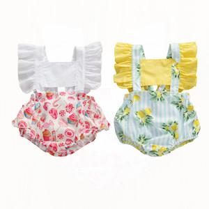 2020 di nuova estate dei ragazzi delle neonate Body Candy Limone Stampa increspature maniche Backless tute 0-24M