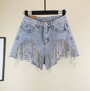 Nail Diamond Tassel Denim Shorts Femmes Wid Leg Eté Glands Lourdes Mince Taille Jean Shorts OOA7013