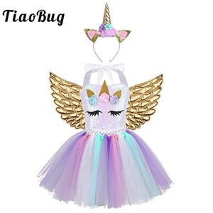 ostumes & Accessories Cosplay Costumes TiaoBug Kids Cartoon Outfit 3D Flowers Sequins Mesh Tutu Dress Hair Hoop Angel Wings Set Girls...
