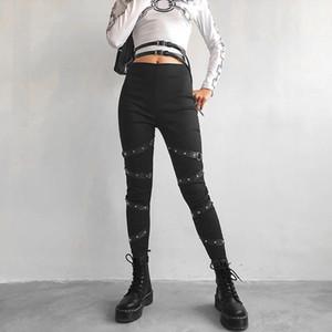 섹시한 푸시 업 블랙 고딕 양식의 레깅스 여성 리본 리벳 패치 워크 Leggins Mujer 스트리트 높은 허리 펑크 레깅스 팬츠