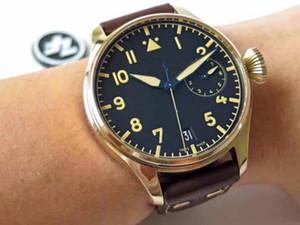 Hombres de lujo de calidad superior Cal.51111 46 mm Dial azul Dial de bronce Ahorro dinámico de 7 días Zafiro Relojes automáticos mecánicos para hombres