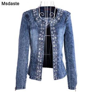 Denim Jackets for Women New Diamonds Paillette Woman Coats Blaser Vintage Water-Wash Casual Lady Jeans Cardigan Jaqueta Feminina