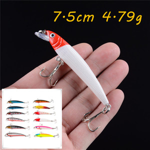 12 Color Minnow Hard Baits & Lures 7.5CM 4.79G 6# Fishing Hooks Pesca Fishing Tackle KL_33