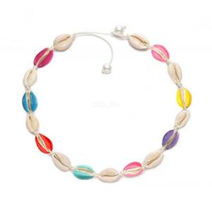 Collier perla colorata collana girocollo catena corda collana collare naturale Boho conchiglia collane donne estate festa in spiaggia gioielli LJJA2603