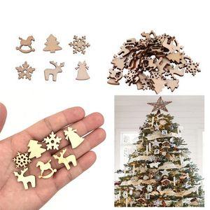100 Pcs Decorações De Natal De Madeira Enfeite De Madeira Do Floco De Neve Árvore De Natal Elk Decoração Presentes DIY Acessórios de Natal BH2113 CY
