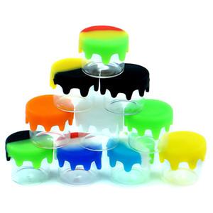 7.2g زجاجة ملونة 6ML صغير صغير مستحضرات التجميل الزجاج الشمع الحاوية جرة مع غطاء سيليكون شعار غطاء مخصصة