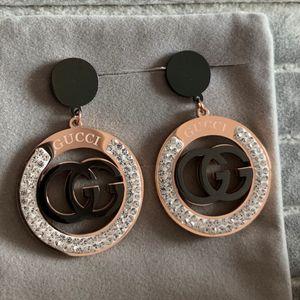 2020 고품질 패션 유럽 미국 티타늄 스틸은 여성 남성 애호가 보석 금 다이아몬드 결혼 드롭 귀걸이 장미