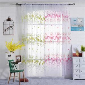 Janela cortinas para Crianças Quarto Jarl Home Decor Verde Rosa Flor Impresso Tulle cortina Painéis Sala Voile Porta Drape Atacado