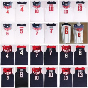 2014 USA Basketball Jerseys Dream-Team Elf 4 Stephen Curry 5 Thompson 6 Derrick Rose 10 Kyrie Irving James Harden Kevin Durant-National