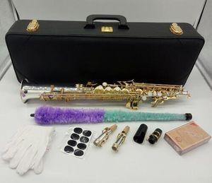 latón saxofón soprano profesional YANAGISAWA S-9030 S-WO3 B de plata chapado en oro Clave Sax Soprano Instrumentos Musicales con el caso