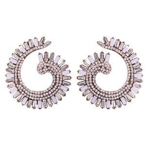 도매 - 패션 명품 디자이너는 여성 소녀를위한 다채로운 다이아몬드 라인 석 기하학적 곡선 스터드 귀걸이 과장